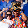 Florida Gators fans cheer on during pregame as the University of Florida Gators hold on to win 24-20 over the University of Miami Hurricanes at Camping World Stadium in Orlando, Florida.  August 23rd, 2019. Gator Country Photo by David Bowie.
