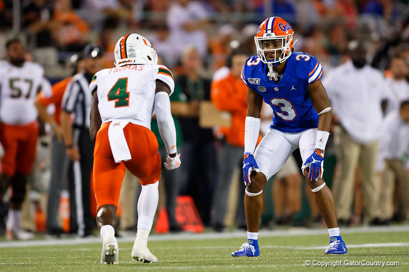 Florida Gators defensive back Marco Wilson (3) lines up across from Miami Hurricanes wide receiver Jeff Thomas (4) as the University of Florida Gators hold on to win 24-20 over the University of Miami Hurricanes at Camping World Stadium in Orlando, Florida.  August 23rd, 2019. Gator Country Photo by David Bowie.