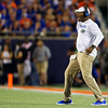 Florida Gators defensive line coach David Turner as the University of Florida Gators hold on to win 24-20 over the University of Miami Hurricanes at Camping World Stadium in Orlando, Florida.  August 23rd, 2019. Gator Country Photo by David Bowie.
