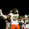 Miami Hurricanes linebacker Romeo Finley (30) celebrates after a late fourth quarter interception as the University of Florida Gators hold on to win 24-20 over the University of Miami Hurricanes at Camping World Stadium in Orlando, Florida.  August 23rd, 2019. Gator Country Photo by David Bowie.