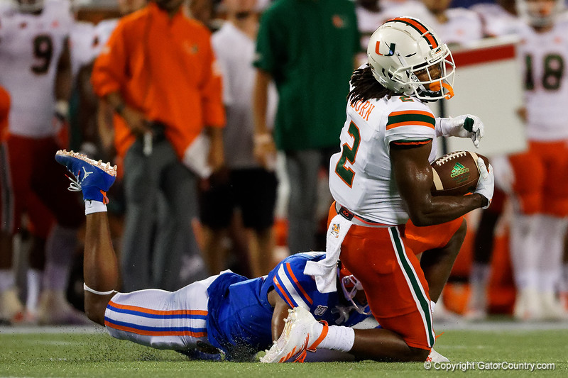 Miami Hurricanes wide receiver K.J. Osborn (2) makes a catch as his knee hits the ground as the University of Florida Gators hold on to win 24-20 over the University of Miami Hurricanes at Camping World Stadium in Orlando, Florida.  August 23rd, 2019. Gator Country Photo by David Bowie.