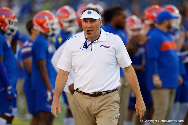Florida Gators head coach Dan Mullen during pregame as the University of Florida Gators hold on to win 24-20 over the University of Miami Hurricanes at Camping World Stadium in Orlando, Florida.  August 23rd, 2019. Gator Country Photo by David Bowie.