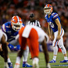 Florida Gators place kicker Evan McPherson (19) lines up to kick a field goal as the University of Florida Gators hold on to win 24-20 over the University of Miami Hurricanes at Camping World Stadium in Orlando, Florida.  August 23rd, 2019. Gator Country Photo by David Bowie.