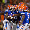 Florida Gators wide receiver Van Jefferson (12) and Florida Gators wide receiver Tyrie Cleveland (89) celebrate after Jefferson recovered a fumble on a punt return as the University of Florida Gators hold on to win 24-20 over the University of Miami Hurricanes at Camping World Stadium in Orlando, Florida.  August 23rd, 2019. Gator Country Photo by David Bowie.