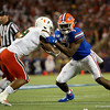 Florida Gators linebacker Jeremiah Moon (7) tries to shed a block as the University of Florida Gators hold on to win 24-20 over the University of Miami Hurricanes at Camping World Stadium in Orlando, Florida.  August 23rd, 2019. Gator Country Photo by David Bowie.