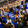 The University of Florida Gators celebrate after holding on to win 24-20 over the University of Miami Hurricanes at Camping World Stadium in Orlando, Florida.  August 23rd, 2019. Gator Country Photo by David Bowie.