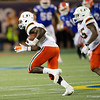 Miami Hurricanes defensive back Amari Carter (5) makes an interception and turns upfield as the University of Florida Gators hold on to win 24-20 over the University of Miami Hurricanes at Camping World Stadium in Orlando, Florida.  August 23rd, 2019. Gator Country Photo by David Bowie.