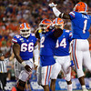 Florida Gators running back Lamical Perine (2) celebrates after scoring a touchdown as the University of Florida Gators hold on to win 24-20 over the University of Miami Hurricanes at Camping World Stadium in Orlando, Florida.  August 23rd, 2019. Gator Country Photo by David Bowie.