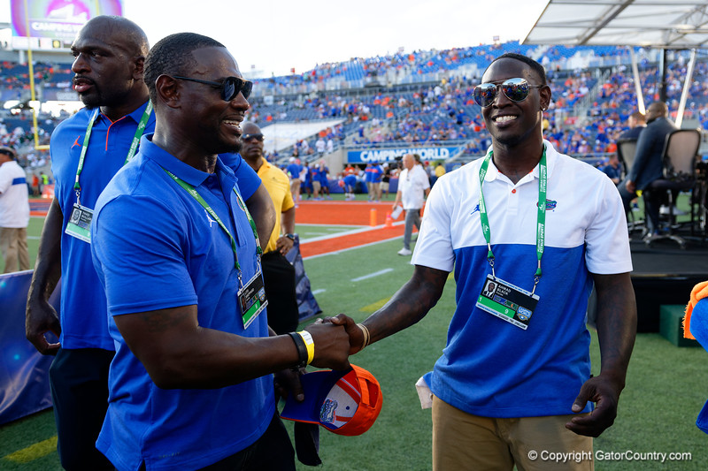 Former Florida Gators Ahmad Black and Lito Sheppard during pregame as the University of Florida Gators hold on to win 24-20 over the University of Miami Hurricanes at Camping World Stadium in Orlando, Florida.  August 23rd, 2019. Gator Country Photo by David Bowie.