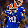 Florida Gators wide receiver Josh Hammond (10) and Florida Gators wide receiver Trevon Grimes (8) celebrates after a catch by Hammond as the University of Florida Gators hold on to win 24-20 over the University of Miami Hurricanes at Camping World Stadium in Orlando, Florida.  August 23rd, 2019. Gator Country Photo by David Bowie.