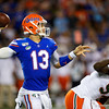 Florida Gators quarterback Feleipe Franks (13) throwing as the University of Florida Gators hold on to win 24-20 over the University of Miami Hurricanes at Camping World Stadium in Orlando, Florida.  August 23rd, 2019. Gator Country Photo by David Bowie.