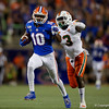 Florida Gators wide receiver Josh Hammond (10) makes a catch and puts the Gators in scoring position as the University of Florida Gators hold on to win 24-20 over the University of Miami Hurricanes at Camping World Stadium in Orlando, Florida.  August 23rd, 2019. Gator Country Photo by David Bowie.