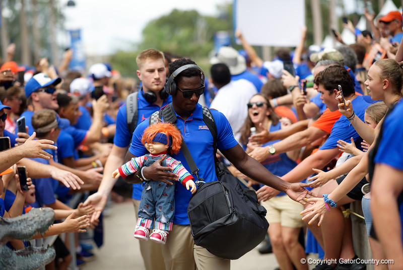 The Florida Gators march into the stadium during Gator Walk as the Gators prepare to face the Auburn Tigers at Ben Hill Griffin Stadium in Gainesville, Florida.  October 5th, 2019. Gator Country Photo by David Bowie.