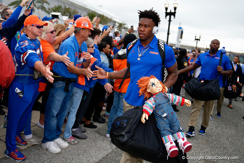 Florida Gators defensive back Kaiir Elam (5) as the #6 Florida Gators walk into TIAA Bank Field as they prepare to take on the #8 Georgia Bulldogs at in Jacksonville, Florida.  November 2nd, 2019. Gator Country Photo by David Bowie.