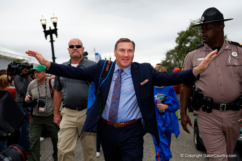 Florida Gators head coach Dan Mullen as the #6 Florida Gators walk into TIAA Bank Field as they prepare to take on the #8 Georgia Bulldogs at in Jacksonville, Florida.  November 2nd, 2019. Gator Country Photo by David Bowie.