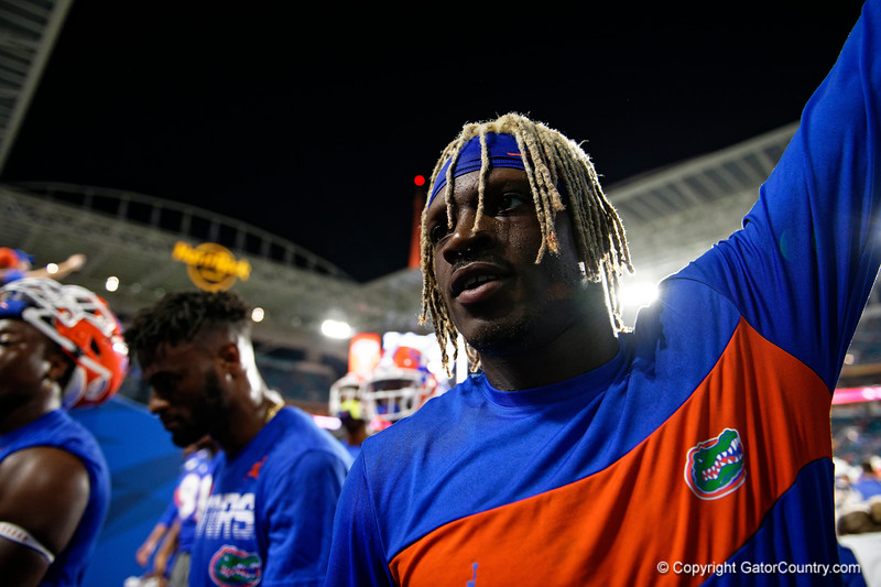 Florida Gators wide receiver Kadarius Toney (1) during pregame as the Florida Gators prepare to take on the Virginia Cavaliers in the 2019 Capital One Orange Bowl in Miami Gardens, Florida.  December 30th, 2019. Gator Country Photo by David Bowie.