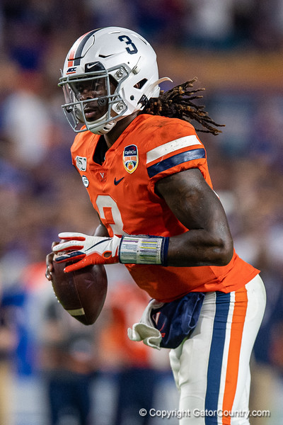 Virginia Cavaliers quarterback Bryce Perkins (3) as the Florida Gators take on the Virginia Cavaliers in the 2019 Capital One Orange Bowl in Miami Gardens, Florida.  December 30th, 2019. Gator Country Photo by David Bowie.