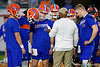 Florida Gators quarterbacks coach Brian Johnson meets with the quarterbacks during pregame as the Florida Gators prepare to take on the Virginia Cavaliers in the 2019 Capital One Orange Bowl in Miami Gardens, Florida.  December 30th, 2019. Gator Country Photo by David Bowie.