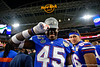 Florida Gators tight end Clifford Taylor IV (45) as the Florida Gators celebrate after defeating the Virginia Cavaliers 36-28 in the 2019 Capital One Orange Bowl in Miami Gardens, Florida.  December 30th, 2019. Gator Country Photo by David Bowie.