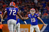 Florida Gators place kicker Evan McPherson (19) lines up and kicks in a field goal as the Florida Gators take on the Virginia Cavaliers in the 2019 Capital One Orange Bowl in Miami Gardens, Florida.  December 30th, 2019. Gator Country Photo by David Bowie.