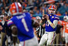 Florida Gators quarterback Kyle Trask (11) looks downfield for an open receiver as the Florida Gators take on the Virginia Cavaliers in the 2019 Capital One Orange Bowl in Miami Gardens, Florida.  December 30th, 2019. Gator Country Photo by David Bowie.