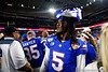 Florida Gators quarterback Emory Jones (5) as the Florida Gators celebrate after defeating the Virginia Cavaliers 36-28 in the 2019 Capital One Orange Bowl in Miami Gardens, Florida.  December 30th, 2019. Gator Country Photo by David Bowie.