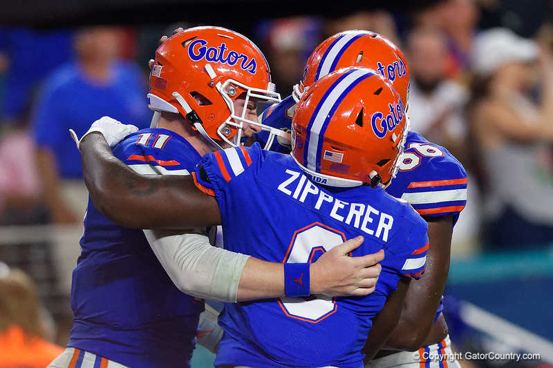 Florida Gators quarterback Kyle Trask (11) as the Florida Gators take on the Virginia Cavaliers in the 2019 Capital One Orange Bowl in Miami Gardens, Florida.  December 30th, 2019. Gator Country Photo by David Bowie.