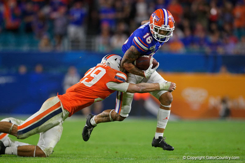 Florida Gators wide receiver Freddie Swain (16) as the Florida Gators take on the Virginia Cavaliers in the 2019 Capital One Orange Bowl in Miami Gardens, Florida.  December 30th, 2019. Gator Country Photo by David Bowie.