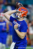Florida Gators quarterback Kyle Trask (11) during pregame as the Florida Gators prepare to take on the Virginia Cavaliers in the 2019 Capital One Orange Bowl in Miami Gardens, Florida.  December 30th, 2019. Gator Country Photo by David Bowie.