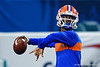 Florida Gators quarterback Emory Jones (5) during pregame as the Florida Gators prepare to take on the Virginia Cavaliers in the 2019 Capital One Orange Bowl in Miami Gardens, Florida.  December 30th, 2019. Gator Country Photo by David Bowie.