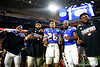 Florida Gators running back Lamical Perine (2),Florida Gators running back Malik Davis (20) and Florida Gators running back Nay'Quan Wright (6) as the Florida Gators celebrate after defeating the Virginia Cavaliers 36-28 in the 2019 Capital One Orange Bowl in Miami Gardens, Florida.  December 30th, 2019. Gator Country Photo by David Bowie.