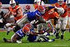 Florida Gators defensive lineman Zachary Carter (17) leaps attempting to sack Virginia Cavaliers quarterback Bryce Perkins (3) as the Florida Gators take on the Virginia Cavaliers in the 2019 Capital One Orange Bowl in Miami Gardens, Florida.  December 30th, 2019. Gator Country Photo by David Bowie.