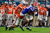 Florida Gators wide receiver Tyrie Cleveland (89) makes a catch and is tackled as the Florida Gators take on the Virginia Cavaliers in the 2019 Capital One Orange Bowl in Miami Gardens, Florida.  December 30th, 2019. Gator Country Photo by David Bowie.