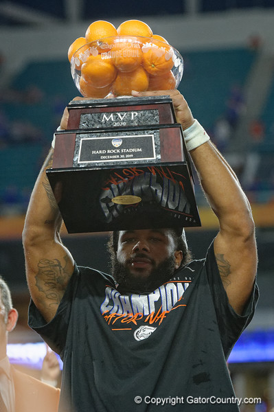 Florida Gators running back Lamical Perine (2) as the Florida Gators celebrate after defeating the Virginia Cavaliers 36-28 in the 2019 Capital One Orange Bowl in Miami Gardens, Florida.  December 30th, 2019. Gator Country Photo by David Bowie.
