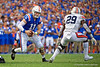 Florida Gators quarterback Kyle Trask (11) rushing as the Gators defeat the #5 Auburn Tigers 24-13 at Ben Hill Griffin Stadium in Gainesville, Florida on October 5th, 2019 (Photo by David Bowie/Gatorcountry)