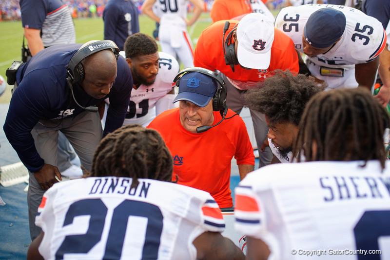 Auburn defensive coordinator KEVIN STEELE as the Gators defeat the #5 Auburn Tigers 24-13 at Ben Hill Griffin Stadium in Gainesville, Florida on October 5th, 2019 (Photo by David Bowie/Gatorcountry)