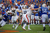 Auburn Tigers quarterback Bo Nix (10) throwing as the Gators defeat the #5 Auburn Tigers 24-13 at Ben Hill Griffin Stadium in Gainesville, Florida on October 5th, 2019 (Photo by David Bowie/Gatorcountry)