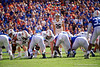 Auburn Tigers place kicker Anders Carlson (26) lines up for a field goal as the Gators defeat the #5 Auburn Tigers 24-13 at Ben Hill Griffin Stadium in Gainesville, Florida on October 5th, 2019 (Photo by David Bowie/Gatorcountry)