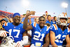 Florida Gators defensive lineman Zachary Carter (17),Florida Gators defensive back Trey Dean III (21) and Florida Gators punter Tommy Townsend (43) celebrate with the fans as the Gators defeat the #5 Auburn Tigers 24-13 at Ben Hill Griffin Stadium in Gainesville, Florida on October 5th, 2019 (Photo by David Bowie/Gatorcountry)