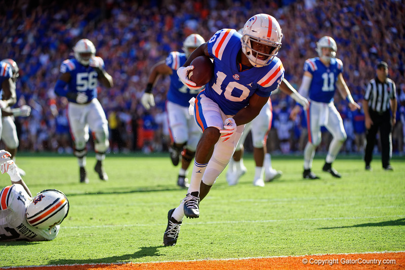 Florida Gators wide receiver Josh Hammond (10) makes a catch and sprints into the endzone as the Gators defeat the #5 Auburn Tigers 24-13 at Ben Hill Griffin Stadium in Gainesville, Florida on October 5th, 2019 (Photo by David Bowie/Gatorcountry)