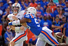 Auburn Tigers quarterback Bo Nix (10) is hit Florida Gators linebacker Jonathan Greenard (58) as the Gators defeat the #5 Auburn Tigers 24-13 at Ben Hill Griffin Stadium in Gainesville, Florida on October 5th, 2019 (Photo by David Bowie/Gatorcountry)