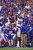 Florida Gators wide receiver Jack Anders (18) leaping for the ball as the Gators defeat the #5 Auburn Tigers 24-13 at Ben Hill Griffin Stadium in Gainesville, Florida on October 5th, 2019 (Photo by David Bowie/Gatorcountry)