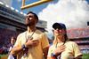 Former Florida Gators golfer Billy Horschel and his wife during the national anthem as the Gators defeat the #5 Auburn Tigers 24-13 at Ben Hill Griffin Stadium in Gainesville, Florida on October 5th, 2019 (Photo by David Bowie/Gatorcountry)