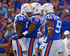 Florida Gators linebacker Jonathan Greenard (58) celebrates with Florida Gators linebacker Ventrell Miller (51) and Florida Gators defensive lineman Kyree Campbell (55) as the Gators defeat the #5 Auburn Tigers 24-13 at Ben Hill Griffin Stadium in Gainesville, Florida on October 5th, 2019 (Photo by David Bowie/Gatorcountry)