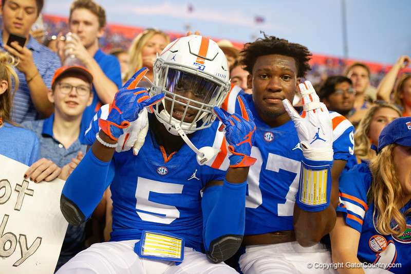 Florida Gators defensive back Kaiir Elam (5) and Florida Gators linebacker Khris Bogle (97) as the Gators defeat the #5 Auburn Tigers 24-13 at Ben Hill Griffin Stadium in Gainesville, Florida on October 5th, 2019 (Photo by David Bowie/Gatorcountry)
