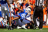 Florida Gators wide receiver Tyrie Cleveland (89) dives onto the pile for a loose ball on a punt return as the Gators defeat the #5 Auburn Tigers 24-13 at Ben Hill Griffin Stadium in Gainesville, Florida on October 5th, 2019 (Photo by David Bowie/Gatorcountry)