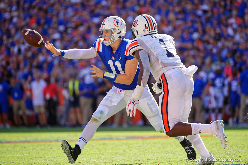 Florida Gators quarterback Kyle Trask (11) as the Gators defeat the #5 Auburn Tigers 24-13 at Ben Hill Griffin Stadium in Gainesville, Florida on October 5th, 2019 (Photo by David Bowie/Gatorcountry)