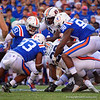 Florida Gators linebacker Ventrell Miller (51),Florida Gators linebacker David Reese II (33) and Florida Gators defensive lineman Luke Ancrum (98) tackling Auburn Tigers running back JaTarvious Whitlow (28) as the Gators defeat the #5 Auburn Tigers 24-13 at Ben Hill Griffin Stadium in Gainesville, Florida on October 5th, 2019 (Photo by David Bowie/Gatorcountry)