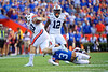 Florida Gators defensive back Marco Wilson (3) tackling Auburn Tigers quarterback Bo Nix (10) as the Gators defeat the #5 Auburn Tigers 24-13 at Ben Hill Griffin Stadium in Gainesville, Florida on October 5th, 2019 (Photo by David Bowie/Gatorcountry)