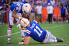 Florida Gators wide receiver Freddie Swain (16) checks on Florida Gators quarterback Kyle Trask (11) as the Gators defeat the #5 Auburn Tigers 24-13 at Ben Hill Griffin Stadium in Gainesville, Florida on October 5th, 2019 (Photo by David Bowie/Gatorcountry)